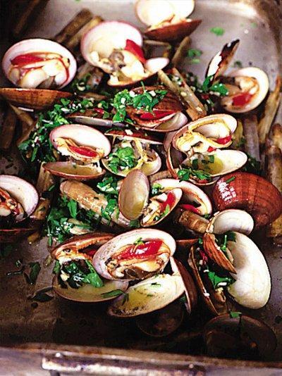 Beautiful smoky barbecued shellfish