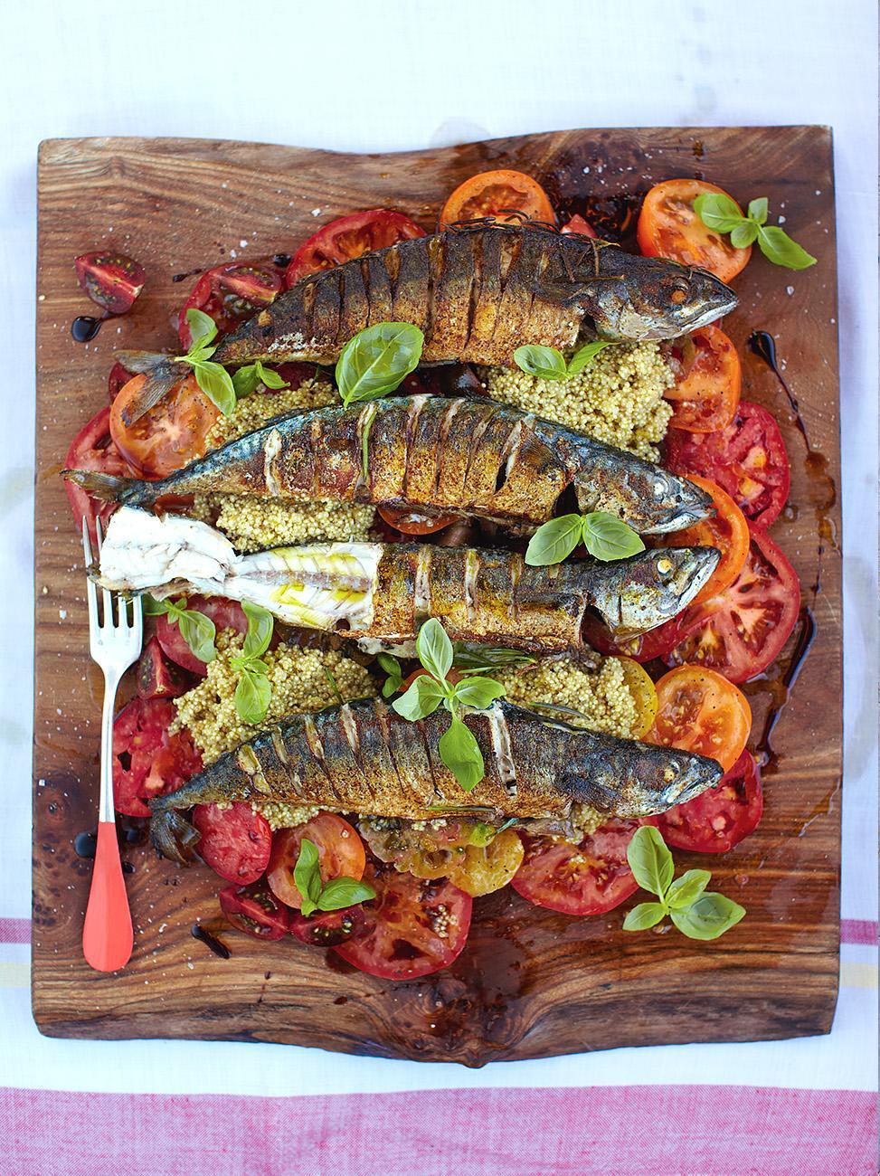 Mighty mackerel with mixed tomato and quinoa salad