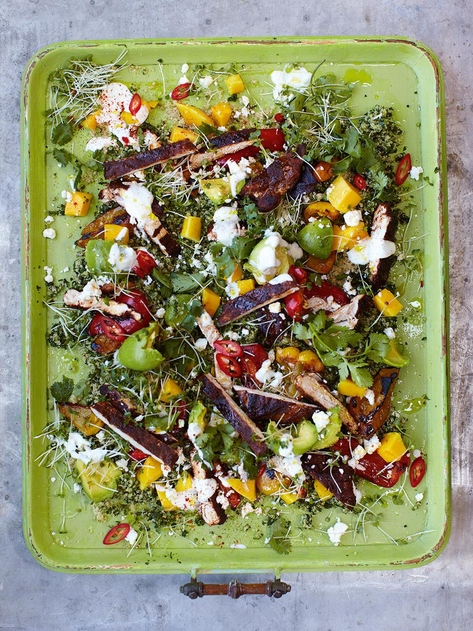 Healthy ways to use fruit jamie oliver blackened chicken with quinoa salad ccuart Gallery