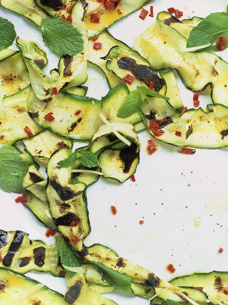Courgette salad with mint garlic red chilli lemon and extra virgin olive oil