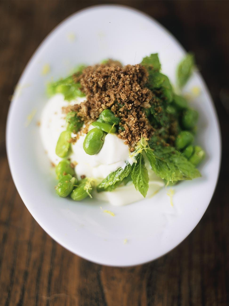 Moroccan style broad bean salad with yoghurt and crunchy bits