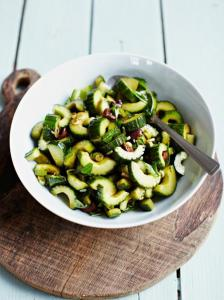 Balsamic dressed cucumber with olives
