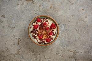 Cocoa, peanut butter and fresh raspberries