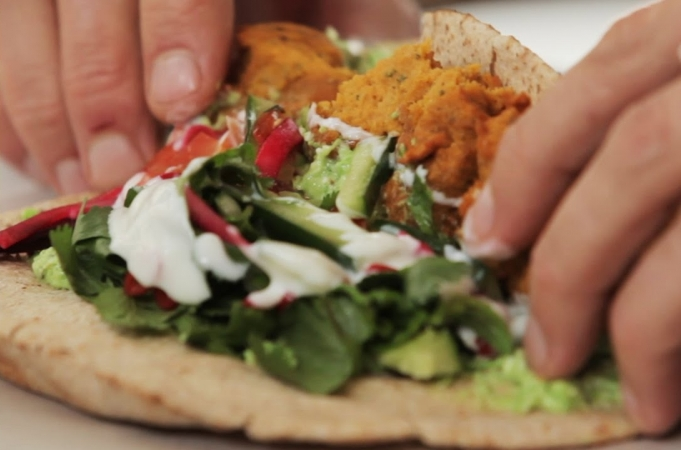 Sweet Potato Falafel with Pea & Feta Hummus