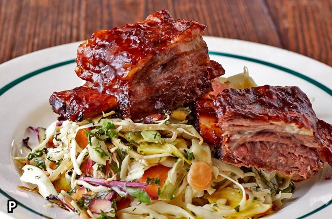 Sticky Beef Ribs & Slaw
