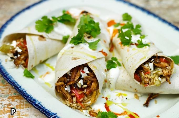 Tasty Cajun Rice & Turkey Burrito