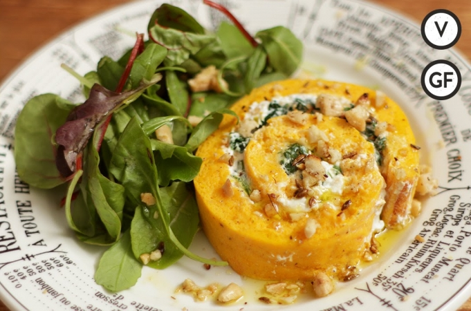 Roasted Squash & Goats Cheese Roulade