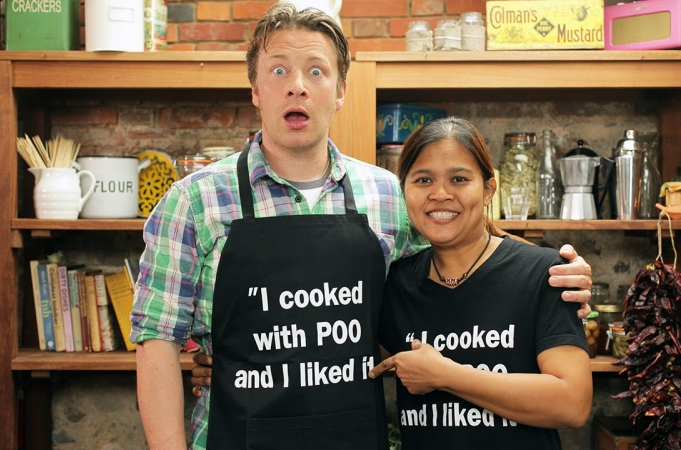 Jamie cooks with Poo
