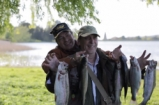 Jamie Oliver fly fishing on Yeo Valley Farm