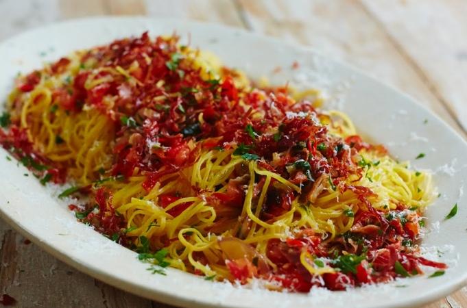 Prosciutto & Red Pepper Taglierini
