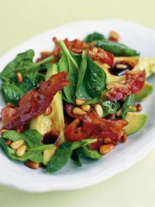 Avocado, pancetta & pine nut salad