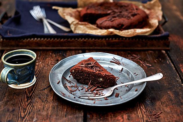 coffee cake with chocolate shavings on top