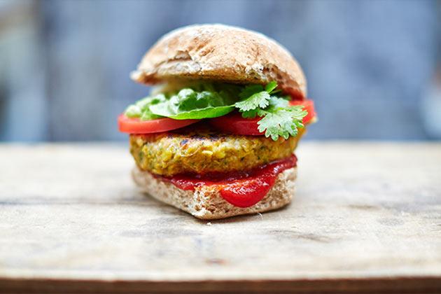 vegan diet vegan burger recipe with tomato sauce and lettuce