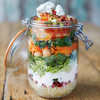 Jamie's healthy jam jar salads