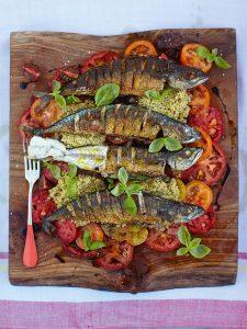 Mighty mackerel with mixed tomato & quinoa salad