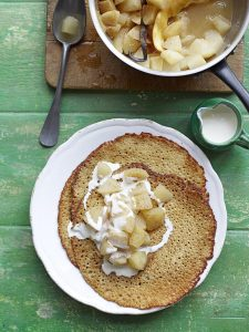 Buckwheat crepes with poached apple & pear