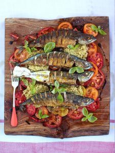 Mighty mackerel with mixed tomato and quinoa salad