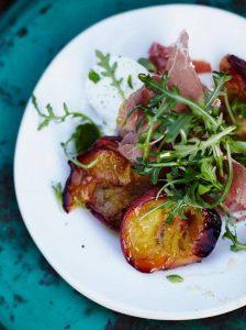 Roast peach and Parma ham salad