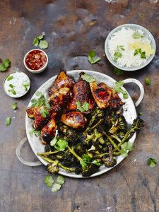 Tandoori chicken with roasted broccoli