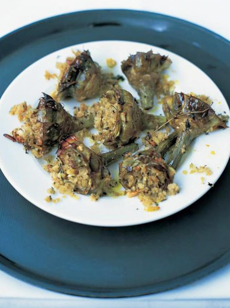 Tray baked artichokes with almonds, breadcrumbs and herbs