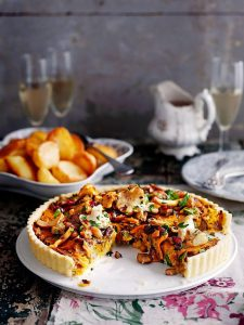 Vegan mushroom, chestnut and cranberry tart