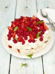 Summer berry pavlova