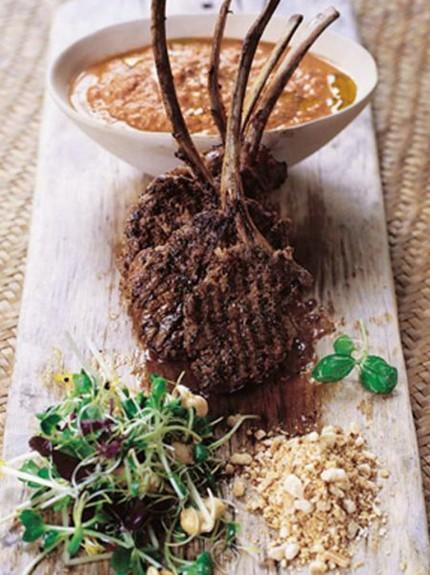 Barbecued lamb lollipops