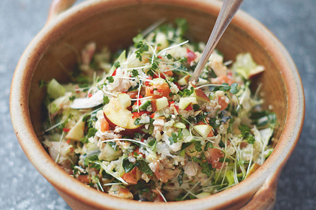 quinoa with mixed salad in a bowl