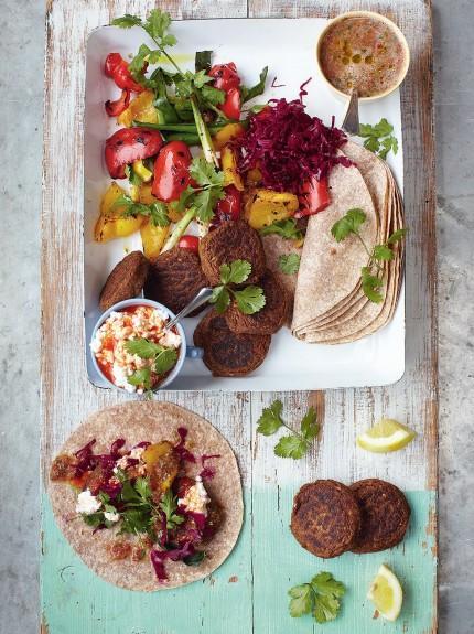 Falafel wraps with grilled veg & salsa
