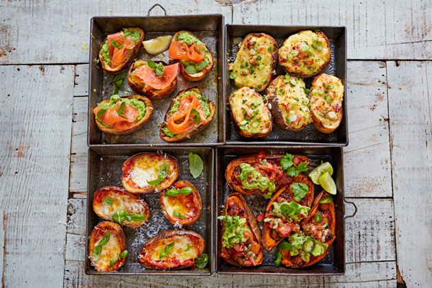 loaded potato skins with a variety of toppings