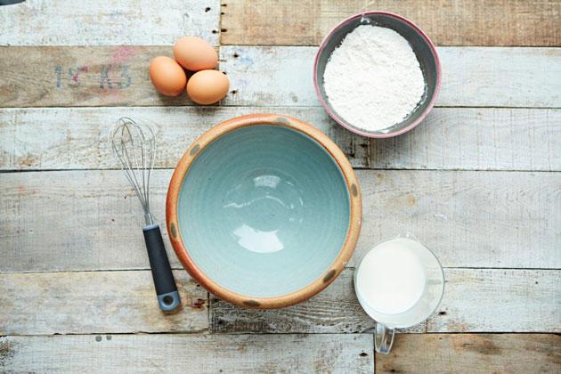 flat lay of ingredients for baking pancakes
