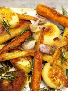 Roast potatoes, parsnips & carrots
