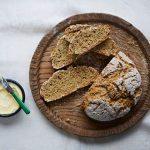 soda bread recipe on a board with butter