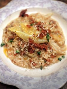 Risotto of sweet white onions, cotechino sausage & thyme
