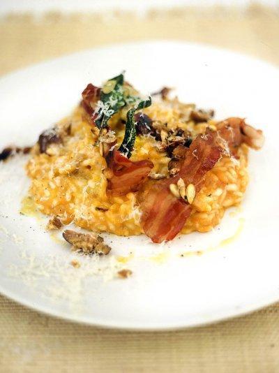 Roast squash, sage, chestnut & pancetta risotto
