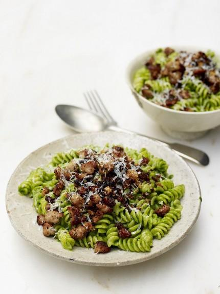 Wonderful wild garlic & sausage fusilli