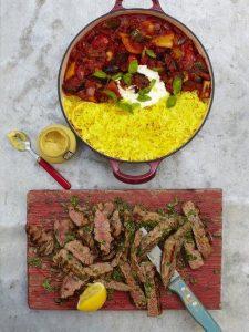 Grilled steak ratatouille