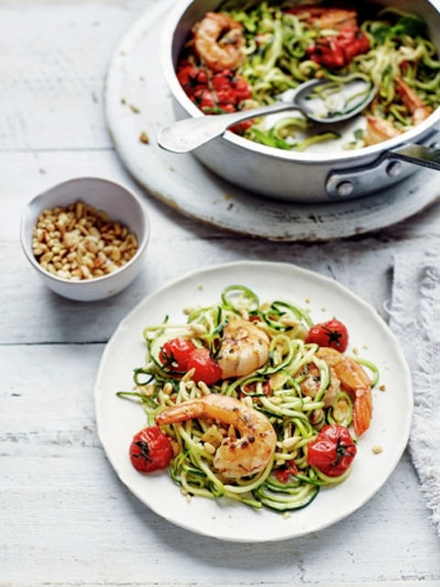 Lemony prawn courgetti