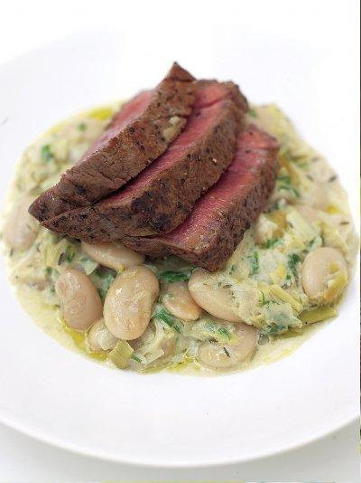 Grilled fillet steak with the creamiest white beans & leeks