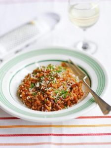 Tomato, red wine & chorizo risotto