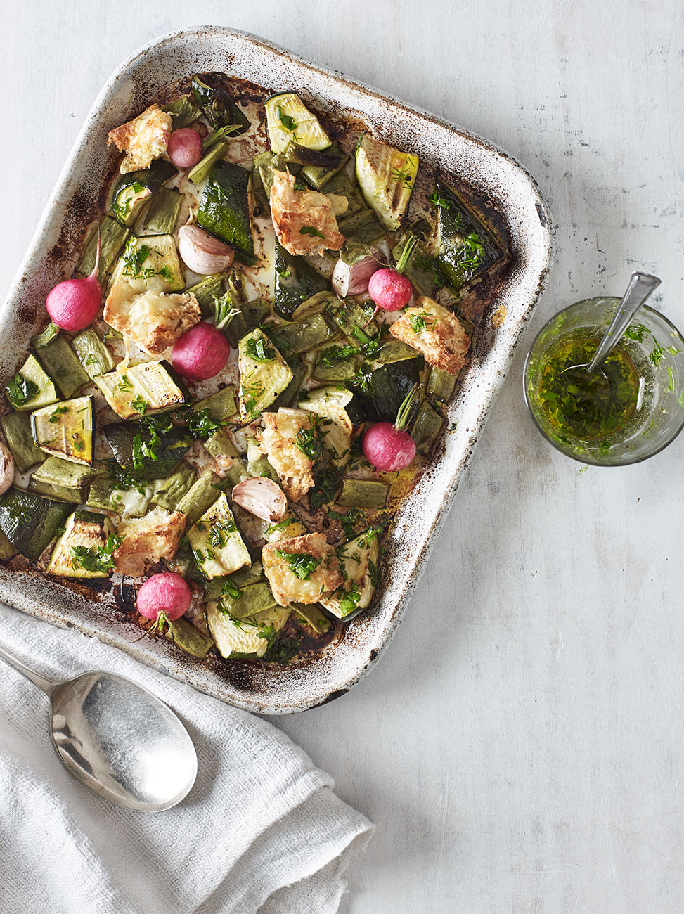 Roasted radish & runner bean traybake