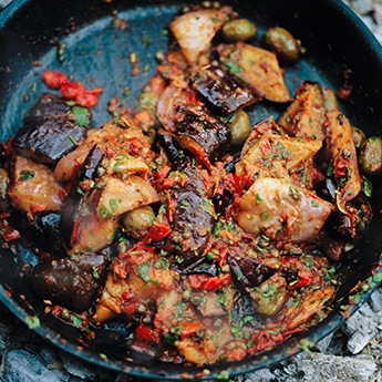 Delicious aubergine caponata – pile on toast, or eat warm as a side