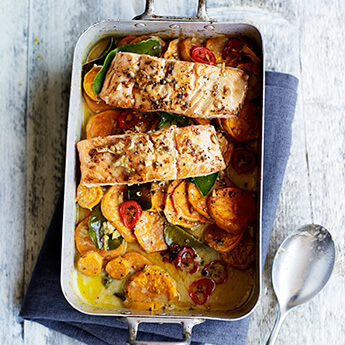 This salmon traybake is small on washing up, but big on flavour!