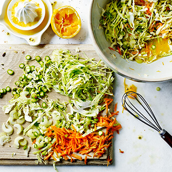 This fresh, fruity slaw goes so well with crispy, crunchy chicken