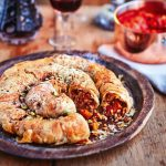 Christmas Eve dinner ideas pastry recipe in spiral with grains and pulses inside