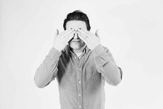 #adenough campaign - Jamie has hands over eyes