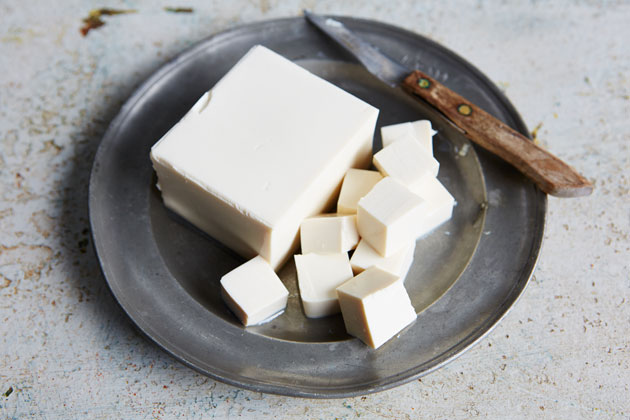 a plate of tofu - meat alternatives