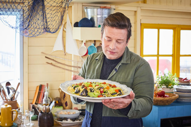 Jamie with his seafood risotto recipe