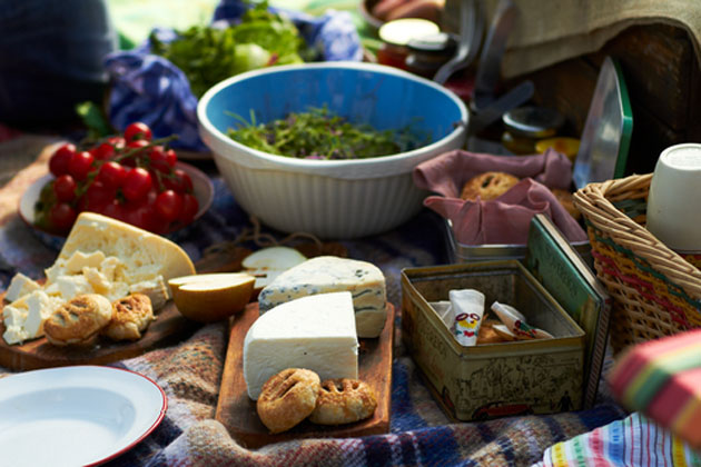 picnic without bread image with a blanket set out for a picnic