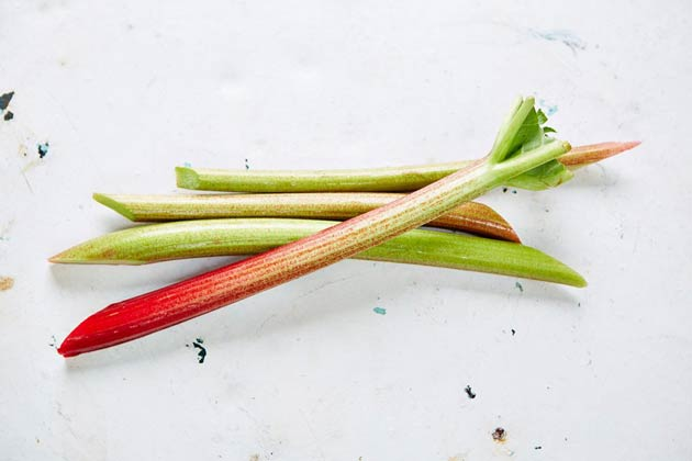 Stems of rhubarb on a marble table